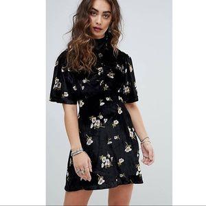 Free People Black Velvet Floral Y2K Mini Dress